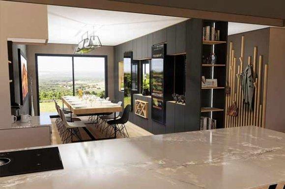 Architecte pour la rénovation complète d'une cuisine ouverte sur mesure à Lyon.